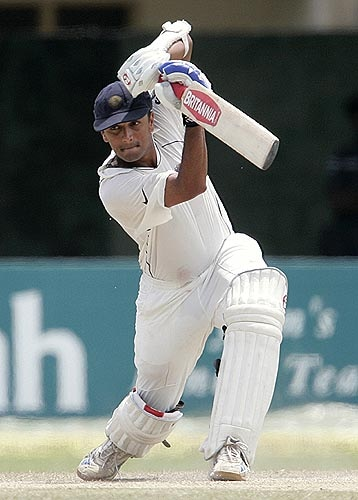 Rahul Dravid drives one away during his fifty on Day 4 of the third Test against Sri Lanka.