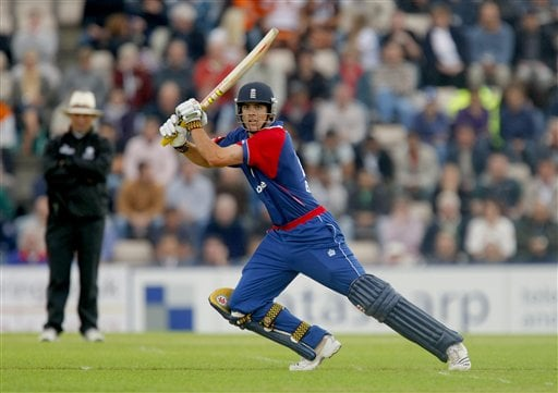 England's Alastair Cook hits a shot en route to making his maiden one-day cricket century during the one-day cricket match between England and India at The Rose Bowl cricket ground in Southampton, England, Tuesday, Aug. 21, 2007.