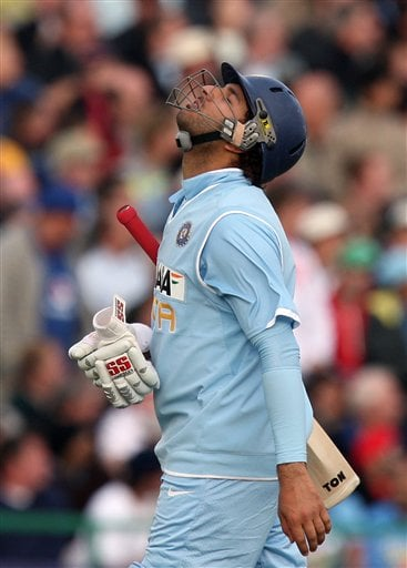 Yuvraj Singh reacts after he was dismissed during their fourth One Day International cricket match against England in Manchester, England, Thursday Aug. 30, 2007.