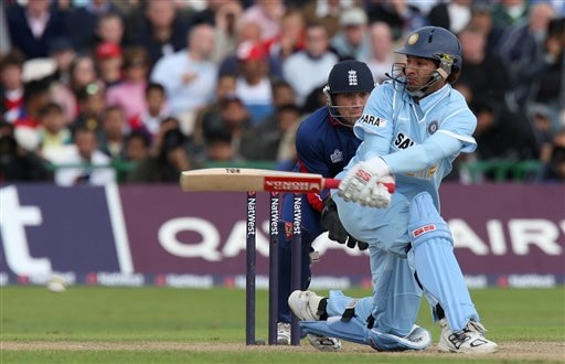 Yuvraj Singh plays a shot during their fourth One Day International cricket match against England in Manchester, England, Thursday Aug. 30, 2007.