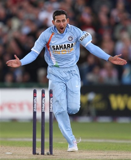 Ajit Agarkar celebrates after bowling England's Ian Bell during their fourth One Day International cricket match in Manchester, England, Thursday Aug. 30, 2007.