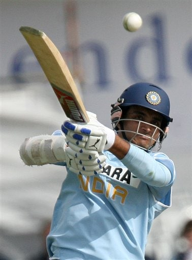 Sourav Ganguly plays a shot against England during the fifth one day International match at Headingley Cricket ground in Leeds, England, Sunday Sept. 2, 2007.
