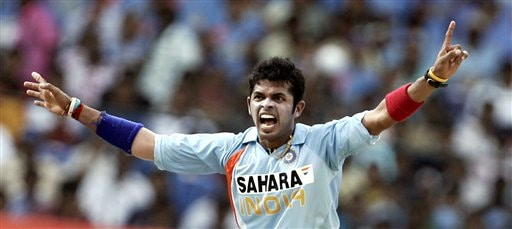 Sreesanth appeals successfully for the dismissal of Australia's Andrew Symonds during the first One-Day international cricket match between the two teams in Bangalore, India, Saturday, Sept. 29, 2007.