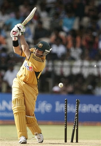 Australia's Matthew Hayden is bowled out by India's S. Sreesanth during the first One-Day international cricket match between the two teams in Bangalore, India, Saturday, Sept. 29, 2007.