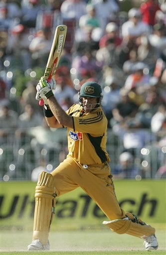 Matthew Hayden plays a shot against India during the fourth one day international cricket match in Chandigarh, India, Monday, Oct. 8, 2007.