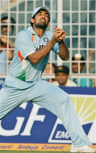 Zaheer Khan reacts after dropping a catch during the seventh one-day international cricket match against Australia in Mumbai, India, Wednesday, Oct. 17, 2007.