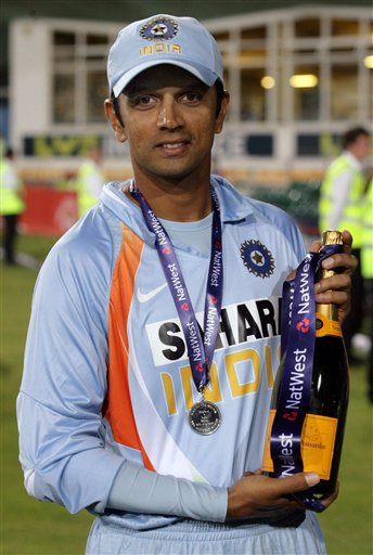 India's Rahul Dravid holds his trophy after being named man of the match after India beat England at the County Ground, Bristol, England on Friday.