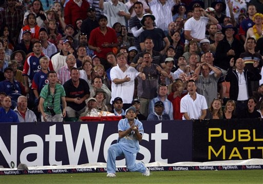 India's Ajit Agarkar catches England's Andrew Flintoff during the one day international cricket match at the County Ground, Bristol, England on Friday.
