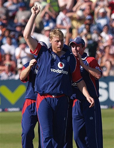 England's Andrew Flintoff celebrates his dismissal for 99 of India's Sachin Tendulkar in the 2nd one-day cricket match series between England, and India, at Bristol, England on Friday.