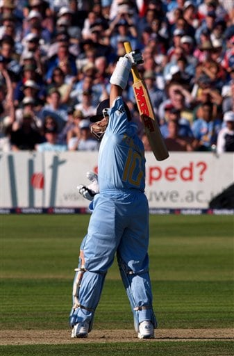 India's Sachin Tendulkar reacts to being bowled and caught for 99, in the 2nd one-day cricket match series between England, and India, at Bristol, England on Friday.