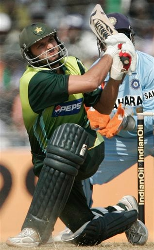 Pakistan's Shahid Afridi, plays a shot against India during their first one day international cricket match in Gauhati, India, Monday, Nov. 5, 2007.