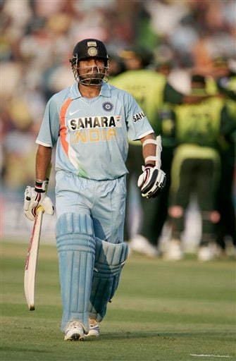 Sachin Tendulkar leaves the ground after his dismissal at 99 runs against Pakistan during the second one day international cricket match in Mohali, India, Thursday, Nov. 8, 2007.
