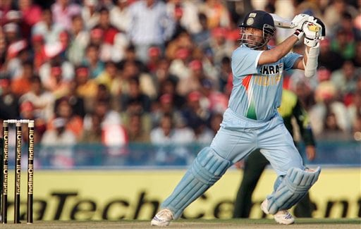 Sachin Tendulkar plays a shot against Pakistan during the second one day international cricket match in Mohali, India,Thursday, Nov. 8, 2007.