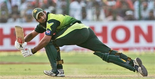 Mohammad Yousuf plays a shot against India during the fourth one-day international cricket match in Gwalior, India, Thursday, Nov. 15, 2007.
