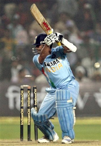Sachin Tendulkar is bowled by Pakistan's Umar Gul, not pictured, during the fourth one-day international match in Gwalior on Thursday, Nov. 15, 2007.