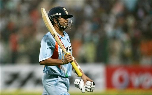Sachin Tendulkar acknowledges the crowd after his dismissal against Pakistan during the fourth one-day international cricket match in Gwalior on Thursday, Nov. 15, 2007.