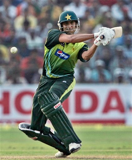 Younis Khan plays a shot against India during the fourth one-day international cricket match in Gwalior, India, Thursday, Nov. 15, 2007.