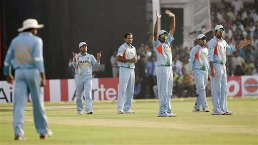 Indian players, from left to right, Harbhajan Singh, Sachin Tendulkar, Irfan Pathan, Robin Uthapa, Mahendra Singh Dhoni and Yuvraj Singh wait for umpire's decision for the dismissal of Younis Khan, unseen, during the fourth one-day international cricket match in Gwalior, India, Thursday, Nov. 15, 2007.