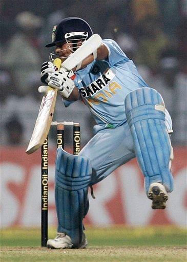 Sachin Tendulkar plays a shot against Pakistan during the fourth one-day international match in Gwalior on Thursday, Nov. 15, 2007.