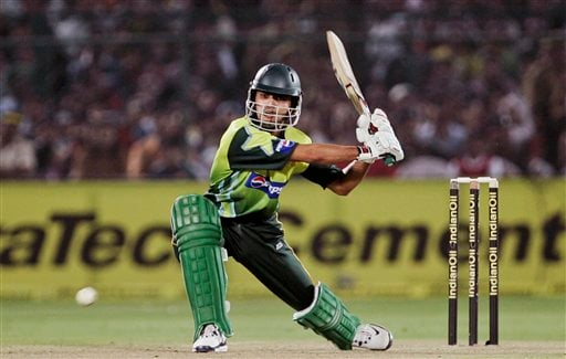 Pakistan's Fawad Alam plays a shot against India during the fifth one-day international match in Jaipur on Sunday, Nov 18, 2007.