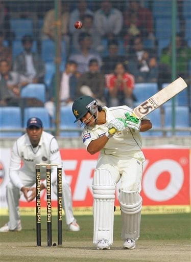 Pakistan's Salman Butt ducks away from a delivery during the third day of the first Test match between India and Pakistan in New Delhi on Saturday, Nov 24, 2007.