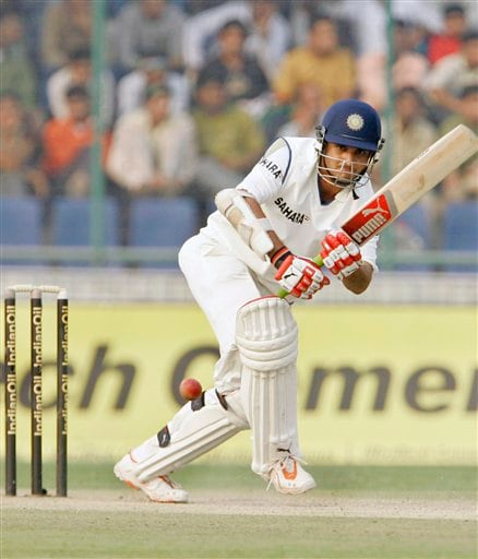 India's Sourav Ganguly plays a shot during the fourth day of the first cricket test match between India and Pakistan