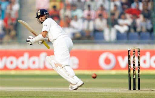India's Sachin Tendulkar plays a shot during the fourth day of the first cricket test match between India