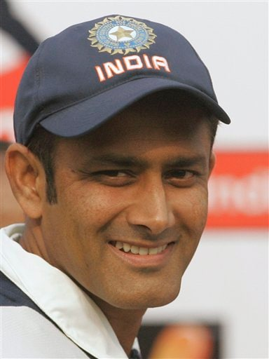 Indian cricket captain Anil Kumble smiles during the awards presentations ceremony after India won the first Test match in New Delhi on Monday, Nov 26, 2007.