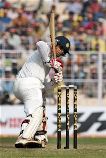 Rahul Dravid follows the movement of the ball during the first day of the second Test match between India and Pakistan in Kolkata.