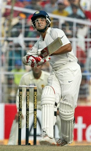 Sourav Ganguly looks up as he hit a shot during the second day of the second Test match between India and Pakistan in Kolkata on Saturday, December 1, 2007. India leads 1-0 in the three Test series.
