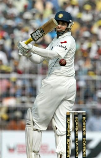 VVS Laxman take a shot during the second day of second Test match between India and Pakistan in Kolkata on Saturday, December 1, 2007.