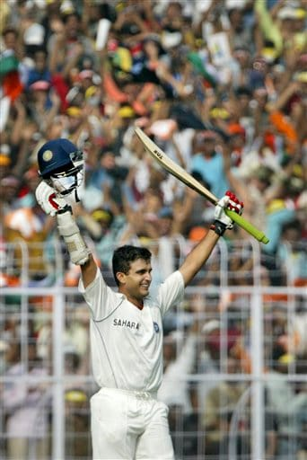 Sourav Ganguly celebrates after reaching his century during the second day of the second Test match between India and Pakistan in Kolkata on Saturday, December 1, 2007. India leads 1-0 in the three Test series.