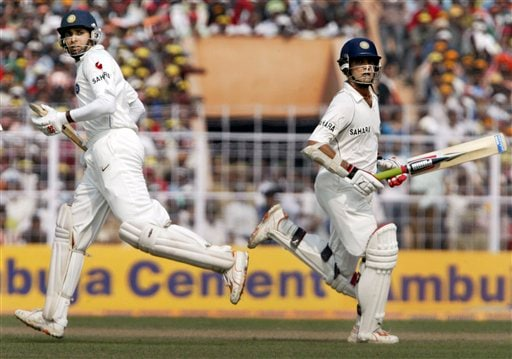 Sourav Ganguly, right, and VVS Laxman run between the wickets during the second day of second cricket Test match between India and Pakistan in Kolkata on Saturday, December 1, 2007.