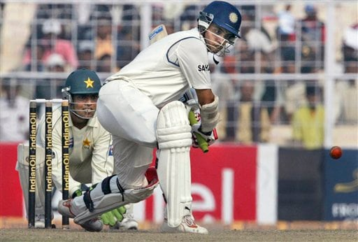 Sourav Ganguly takes a shot against Pakistan's Danish Kaneria, unseen, during the fifth day of second Test match in Kolkata on Tuesday, Dec 4, 2007.