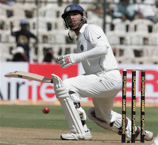 Yuvraj Singh plays a shot on the first day of their third and final Test in Bangalore on Saturday, Dec 8, 2007. India leads the series 1-0.