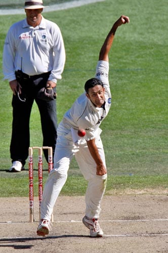 Captain Anil Kumble bowls during the first day of their first Test match against Australia at the Melbourne Cricket Ground on Wednesday, December 26, 2007. Australia ending the day at 9-337.