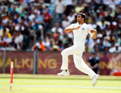 Zaheer Khan form India bowls during the first day of the first Test against Australia at the Melbourne Cricket Ground on Wednesday, December 26, 2007.