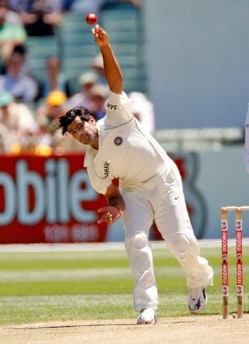 RP Singh bowls during the first day of the first cricket Test match against Australia at the Melbourne Cricket Ground in Melbourne on Wednesday, December 26, 2007.