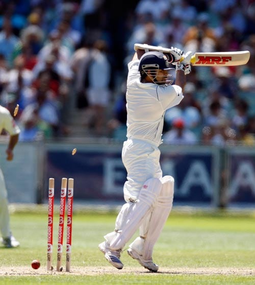 Sachin Tendulkar is bowled by Stuart Clark during the second day of their first Test cricket match at the Melbourne Cricket Ground in Melbourne on Thursday, December 27, 2007. Australia made 343 in its first innings.