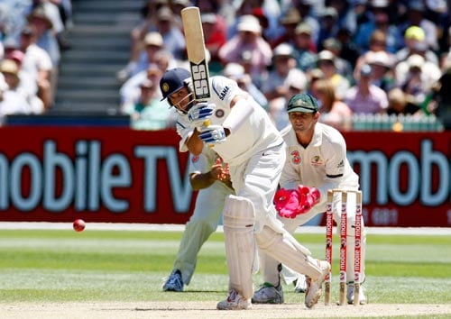 VVS Laxman is at bat during the second day of the first Test cricket match against Australia at the Melbourne Cricket Ground in Melbourne on Thursday, December 27, 2007.
