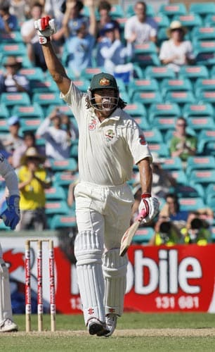 Andrew Symonds celebrates hitting a century during the second Test against India in Sydney, Australia on Wednesday, January 2, 2008.