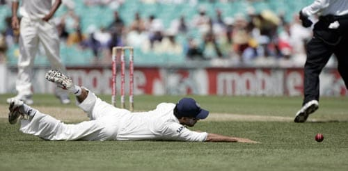 Yuvraj Singh dives for a ball while playing against Australia at the Sydney Cricket Ground on Wednesday, January 2, 2008, on the first day of their second cricket Test.