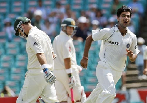 Phil Jaques left, walks behind RP Singh as he celebrates taking his wicket for zero runs during their second Test in Sydney on Wednesday, January 2, 2008.