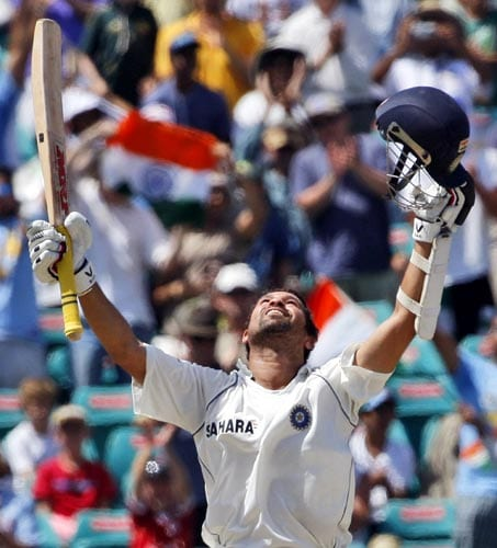 Sachin Tendulkar celebrates hitting a century on day three of the second Test against Australia in Sydney on Friday, January 4, 2008. India made 532 in reply to Australia's 463 in their first innings.