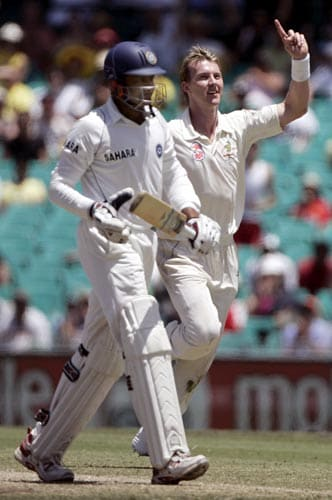 Brett Lee, right, celebrates taking the wicket of Anil Kumble, left, caught behind for 2 runs, at the Sydney Cricket Ground on Friday, January 4, 2008, on the third day of their second cricket Test.