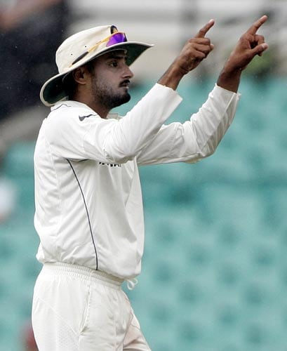 Harbhajan Singh gestures during the first session at the Sydney Cricket Ground on Saturday, January 5, 2008, on the fourth day of their second cricket Test against Australia.