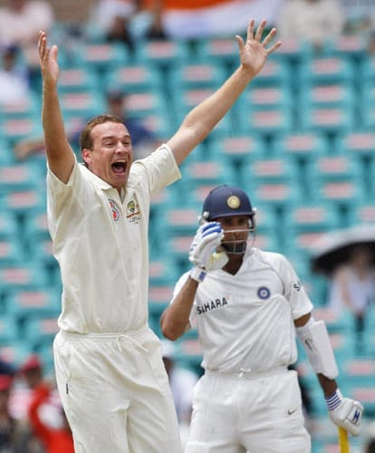 Stuart Clark left, appeals for the wicket of VVS Laxman on the last day of the second Test in Sydney on Sunday, January 6, 2008. Jaffer was out for a duck. Laxman was given out LBW for 20 runs. India are chasing a score of 330 runs.