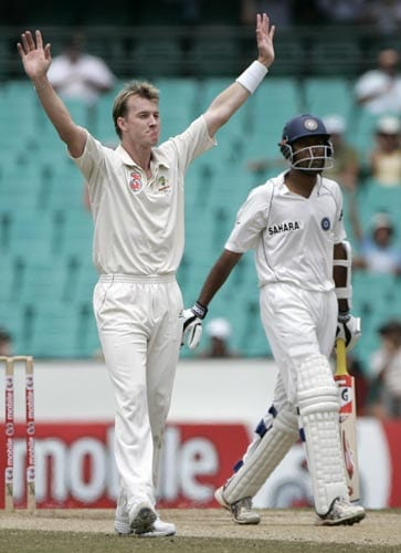 Brett Lee, left, celebrates taking the wicket of Wasim Jaffer, right, at the Sydney Cricket Ground on Sunday, January 6, 2008, on the last day of their second cricket Test.