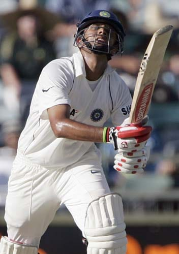 Rahul Dravid reacts after he is caught out by Australia for 93 runs at the WACA in Perth on Wednesday, January 16, 2008, on the first day of their third Test match.