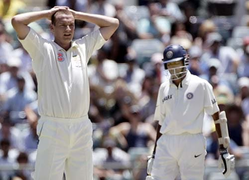 Stuart Clark, left, reacts after his LBW appeal on Wasim Jaffer was turned down at the WACA in Perth on Wednesday, January 16, 2008, on the first day of their third Test match. Australia lead the series 2-0.
